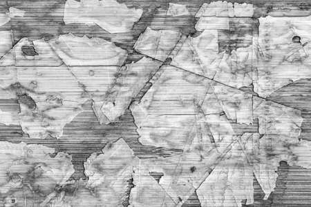 varnished: Old Laminated Flooring Varnished Wood Block-board, Cracked Scratched Peeled Gray Grunge Texture. Stock Photo