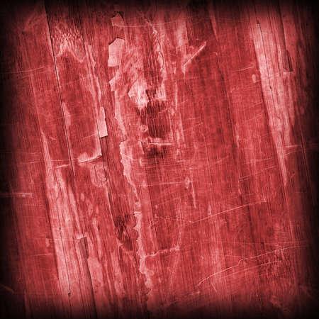 varnished: Old Wine Red Laminated Flooring Varnished Wood Block-board, Cracked Scratched Peeled Vignette Grunge Texture. Stock Photo