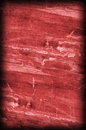 laminated: Old Wine Red Laminated Flooring Varnished Wood Block-board, Cracked Scratched Peeled Vignette Grunge Texture. Stock Photo