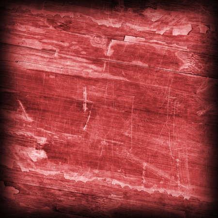 brunt: Old Wine Red Laminated Flooring Varnished Wood Block-board, Cracked Scratched Peeled Vignette Grunge Texture. Stock Photo