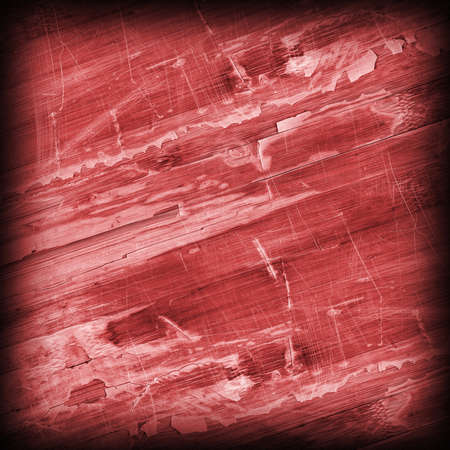 Old Wine Red Laminated Flooring Varnished Wood Block-board, Cracked Scratched Peeled Vignette Grunge Texture. Stock Photo