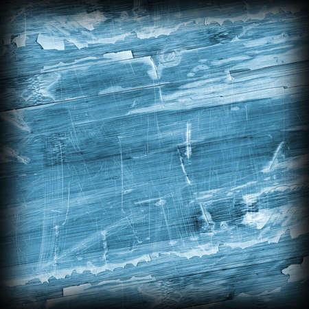 laminated: Old Blue Laminated Flooring Varnished Wood Block-board, Cracked Scratched Peeled Vignette Grunge Texture.