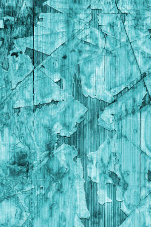 wood flooring: Old Cyan Laminated Flooring Varnished Wood Block-board, Cracked Scratched Peeled Grunge Texture.