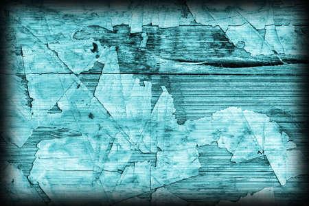 brunt: Old Cyan Laminated Flooring Varnished Wood Block-board, Cracked Scratched Peeled Vignette Grunge Texture.