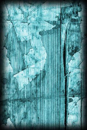 Old Cyan Laminated Flooring Varnished Wood Block-board, Cracked Scratched Peeled Vignette Grunge Texture.