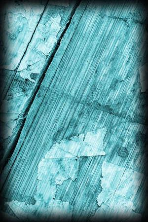 varnished: Old Cyan Laminated Flooring Varnished Wood Block-board, Cracked Scratched Peeled Vignette Grunge Texture.