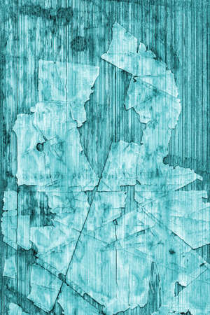 tongue and groove: Old Cyan Laminated Flooring Varnished Wood Block-board, Cracked Scratched Peeled Grunge Texture.