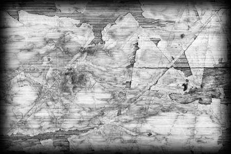 varnished: Old Laminated Flooring Varnished Wood Block-board, Cracked Scratched Peeled Vignette Gray Grunge Texture.