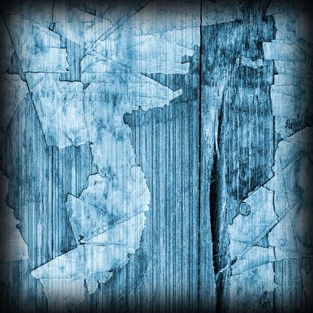Old Blue Laminated Flooring Varnished Wood Block-board, Cracked Scratched Peeled Vignette Grunge Texture.
