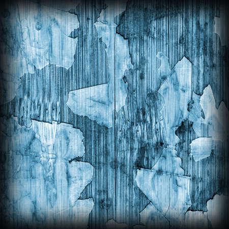 brunt: Old Blue Laminated Flooring Varnished Wood Block-board, Cracked Scratched Peeled Vignette Grunge Texture.