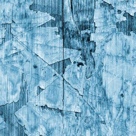 varnished: Old Blue Laminated Flooring Varnished Wood Block-board, Cracked Scratched Peeled Grunge Texture.