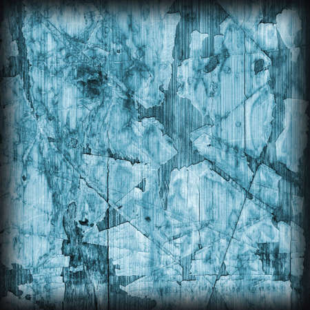 wood flooring: Old Blue Laminated Flooring Varnished Wood Block-board, Cracked Scratched Peeled Vignette Grunge Texture.