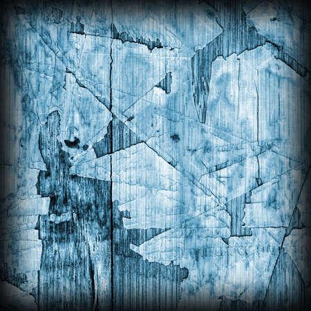 varnished: Old Blue Laminated Flooring Varnished Wood Block-board, Cracked Scratched Peeled Vignette Grunge Texture.