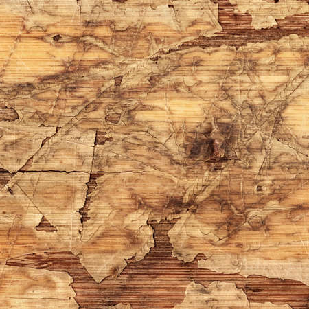 varnished: Old Laminated Flooring Varnished Wood Block-board, Cracked Scratched Peeled Grunge Texture.