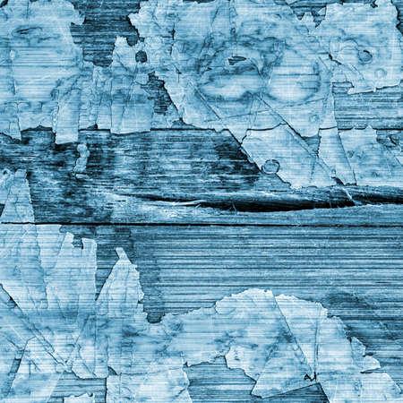 wood flooring: Old Blue Laminated Flooring Varnished Wood Block-board, Cracked Scratched Peeled Grunge Texture.