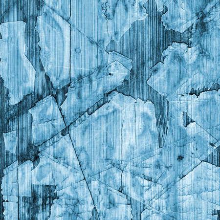 laminated: Old Blue Laminated Flooring Varnished Wood Block-board, Cracked Scratched Peeled Grunge Texture.