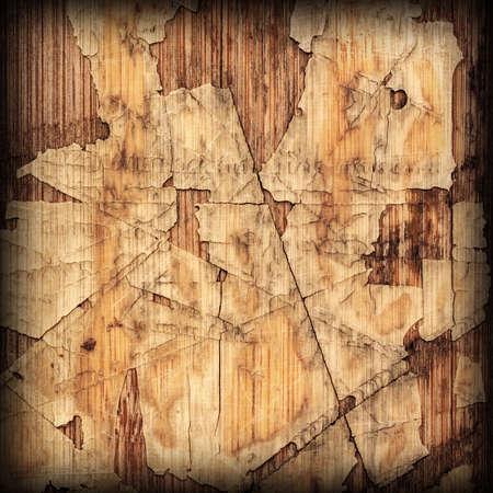 laminated: Old Laminated Flooring Varnished Wood Block-board, Cracked Scratched Peeled Vignette Grunge Texture.