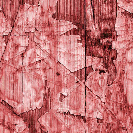 tongue and groove: Old Red Laminated Flooring Varnished Wood Block-board, Cracked Scratched Peeled Grunge Texture. Stock Photo