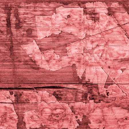 laminated: Old Red Laminated Flooring Varnished Wood Block-board, Cracked Scratched Peeled Grunge Texture. Stock Photo