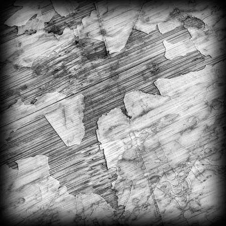 laminated: Old Laminated Flooring Varnished Wood Block-board, Cracked Scratched Peeled Vignette Gray Grunge Texture.