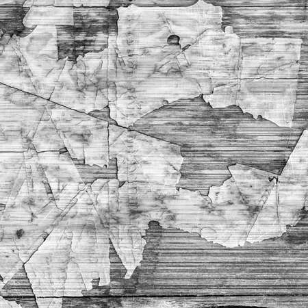 laminated: Old Laminated Flooring Varnished Wood Block-board, Cracked Scratched Peeled Gray Grunge Texture. Stock Photo