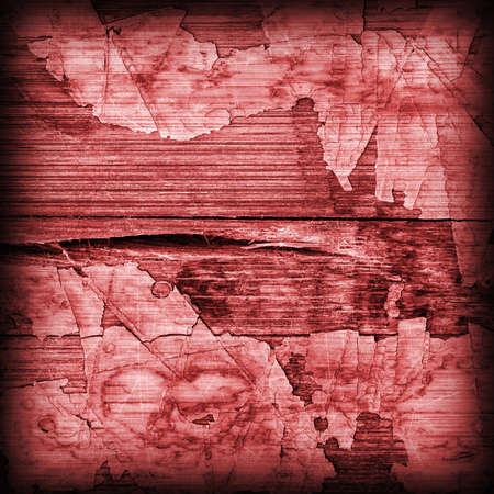 tongue and groove: Old Red Laminated Flooring Varnished Wood Block-board, Cracked Scratched Peeled Vignette Grunge Texture.