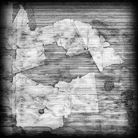 Old Laminated Flooring Varnished Wood Block-board, Cracked Scratched Peeled Vignette Gray Grunge Texture.