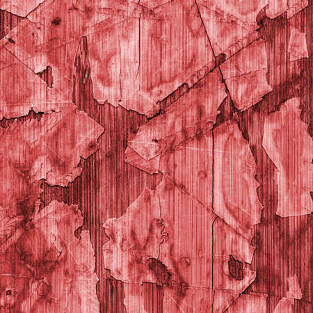 varnished: Old Red Laminated Flooring Varnished Wood Block-board, Cracked Scratched Peeled Grunge Texture. Stock Photo