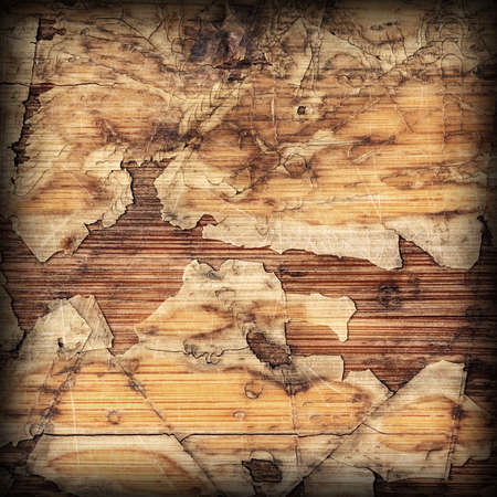 brunt: Old Laminated Flooring Varnished Wood Block-board, Cracked Scratched Peeled Vignette Grunge Texture.