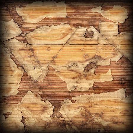 Old Laminated Flooring Varnished Wood Block-board, Cracked Scratched Peeled Vignette Grunge Texture.