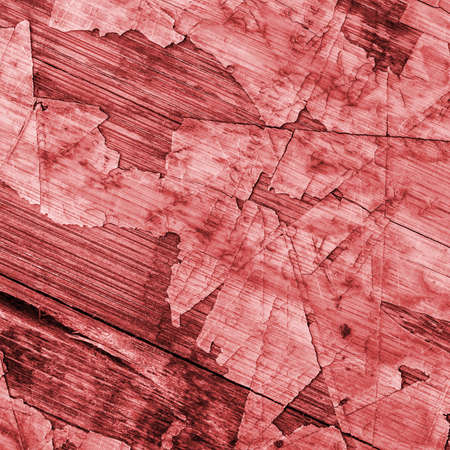 wood flooring: Old Red Laminated Flooring Varnished Wood Block-board, Cracked Scratched Peeled Grunge Texture. Stock Photo
