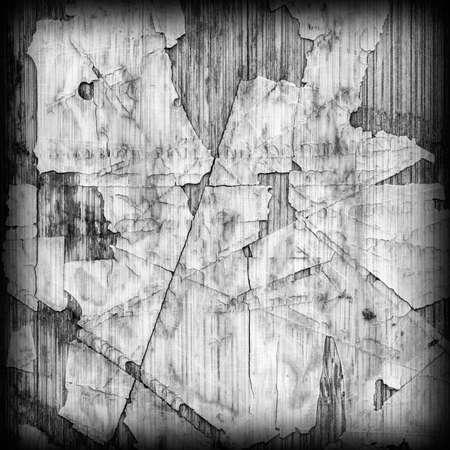 brunt: Old Laminated Flooring Varnished Wood Block-board, Cracked Scratched Peeled Vignette Gray Grunge Texture.