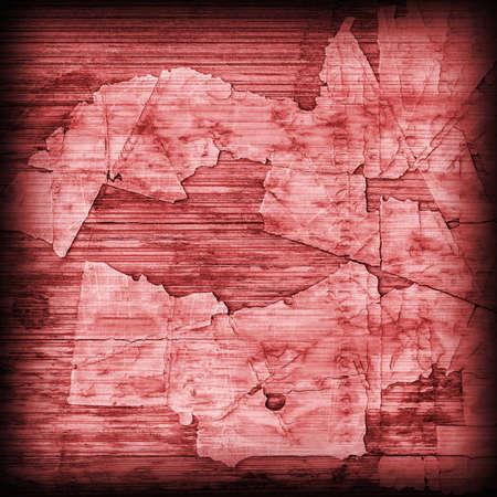 wood flooring: Old Red Laminated Flooring Varnished Wood Block-board, Cracked Scratched Peeled Vignette Grunge Texture.