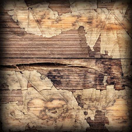 wood flooring: Old Laminated Flooring Varnished Wood Block-board, Cracked Scratched Peeled Vignette Grunge Texture.
