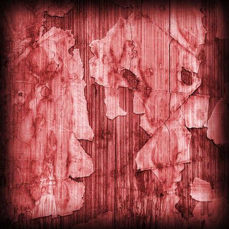 brunt: Old Red Laminated Flooring Varnished Wood Block-board, Cracked Scratched Peeled Vignette Grunge Texture.