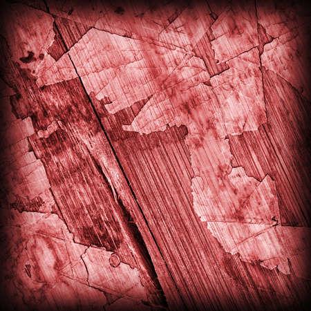 varnished: Old Red Laminated Flooring Varnished Wood Block-board, Cracked Scratched Peeled Vignette Grunge Texture.