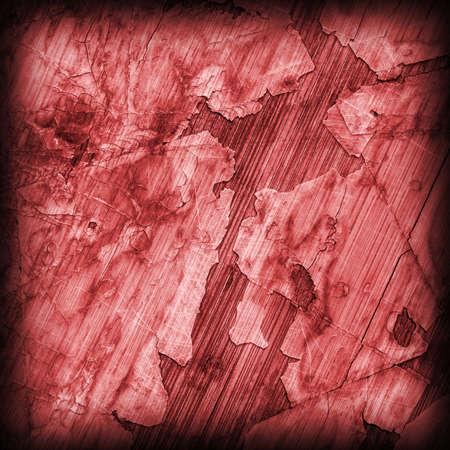 laminated: Old Red Laminated Flooring Varnished Wood Block-board, Cracked Scratched Peeled Vignette Grunge Texture.