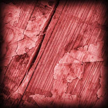 Old Red Laminated Flooring Varnished Wood Block-board, Cracked Scratched Peeled Vignette Grunge Texture.
