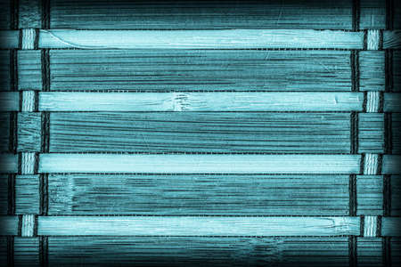 bamboo mat: Bamboo Mat Bleached and Stained Cyan, Vignette Grunge Texture Sample.