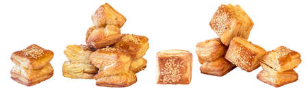 Bunch of Zu-Zu Square Sesame Croissant Puff Pastry Isolated on White Background Stock Photo