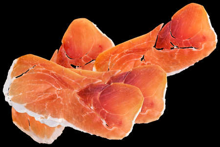 Prosciutto Cured Pork Ham Slices Isolated On Black Background Stock Photo