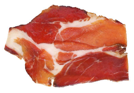 cured: Dry Cured Pork Neck Slice Isolated On White Background Stock Photo