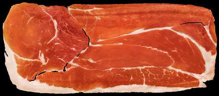 Prosciutto Cured Pork Ham Rasher Isolated On Black Background
