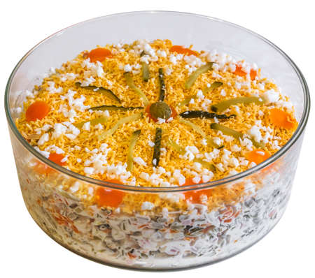 calorie rich food: Olivier Salad in Round Glass Bowl Isolated On White Background