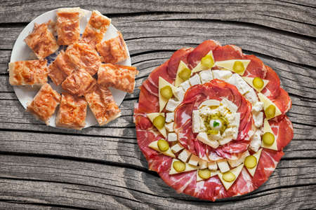 Appetizer Savory Dish Meze With Gibanica Cheese Pie On Old Cracked Wooden Picnic Table