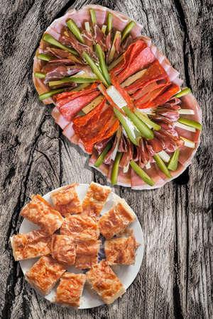 Gibanica Crumpled-pie, Serbian Gibanica, Serbian Tradition, Filo Pastry, Crispy Crust, Crumpled Crust, Cheese Pie, Slices, Meze, Serbian Meze, Serbian Cuisine, Food, Appetizer, Antipasto, Savory Dish, Welcome Treat, Eating,  Mediterranean Food, Gourmet Tr