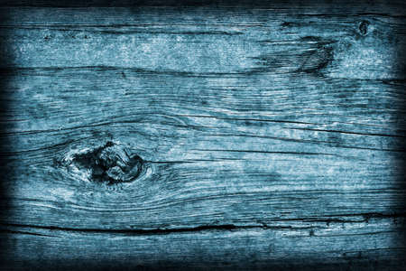 dilapidation: Old Knotted Wood Weathered Rotten Cracked Bleached And Stained Blue Vignetted Grunge Texture