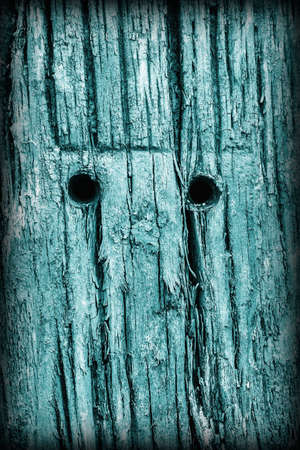 railroad tie: Old Weathered Rotten Cracked Wooden Railroad Tie Rustic Coarse Monochrome Cyan Vignette Grunge Texture