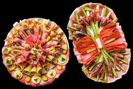 Appetizer Savory Dishes Meze Isolated On Black Background Stock Photo
