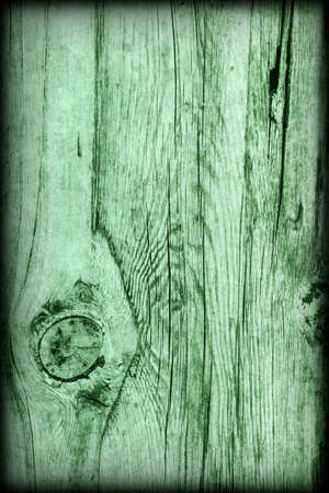 vignetted: Old Knotted Weathered Rotten Cracked Wooden Rustic Floorboard Coarse Kelly Green Vignetted Grunge Texture Stock Photo